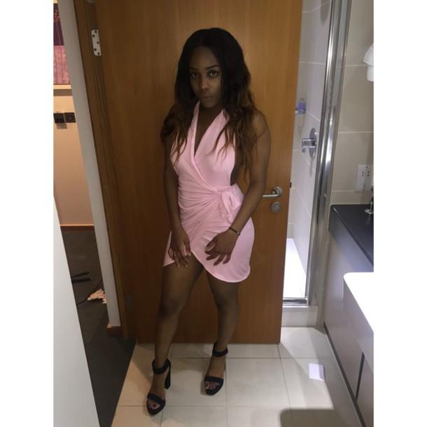 dress pink pink dress oh polly wrap dress black heels heels