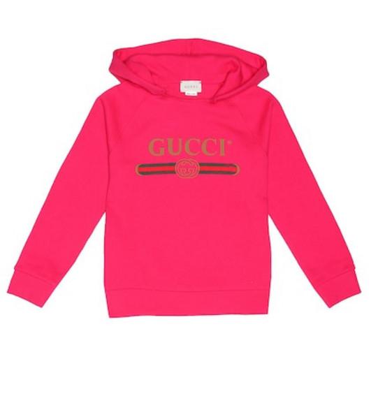 Gucci Kids Logo cotton jersey hoodie in pink