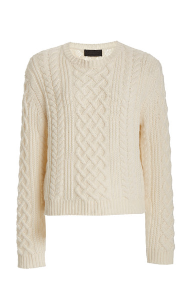 NILI LOTAN Jodelle Cable-Knit Cashmere Sweater in white
