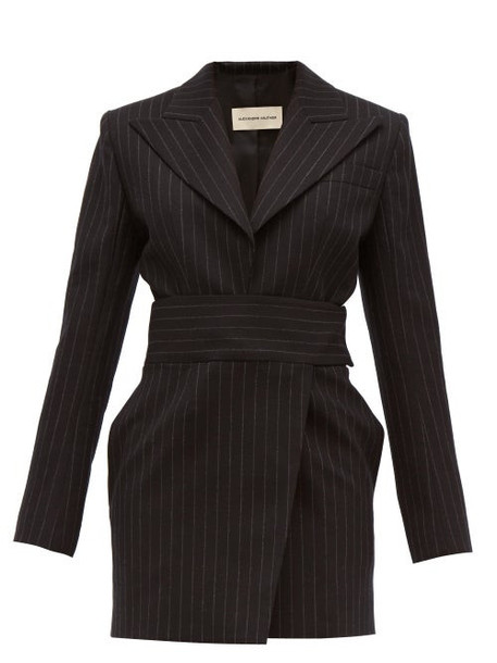 Alexandre Vauthier - Double Breasted Pinstriped Wool Blend Mini Dress - Womens - Black Multi