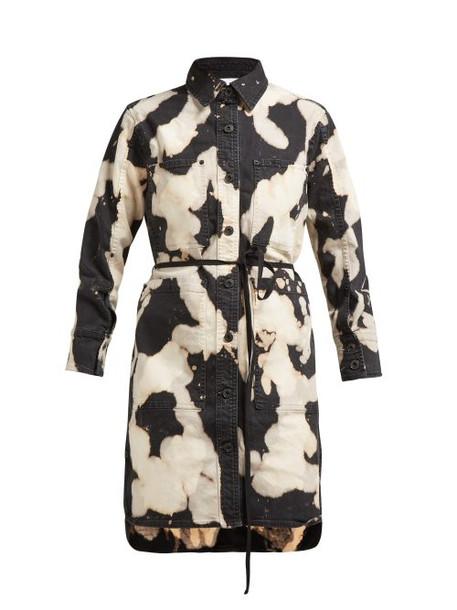 Proenza Schouler Pswl - Tie Dye Effect Denim Shirtdress - Womens - Black White