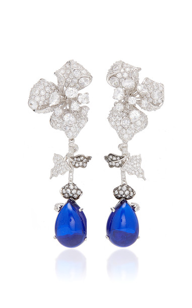 Anabela Chan Orchid 18K White Gold And Sapphire Drop Earrings in blue