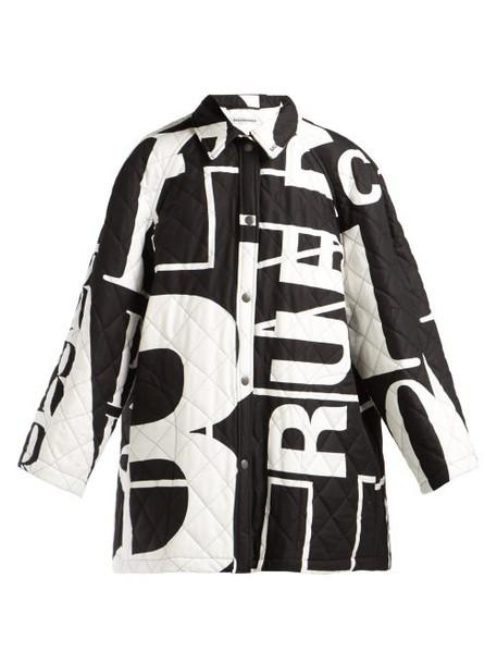 Balenciaga - Logo Printed Quilted Cotton Coat - Womens - Black White