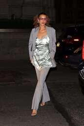 shoes,pants,blazer,bella hadid,model off-duty,sandals,top,suit