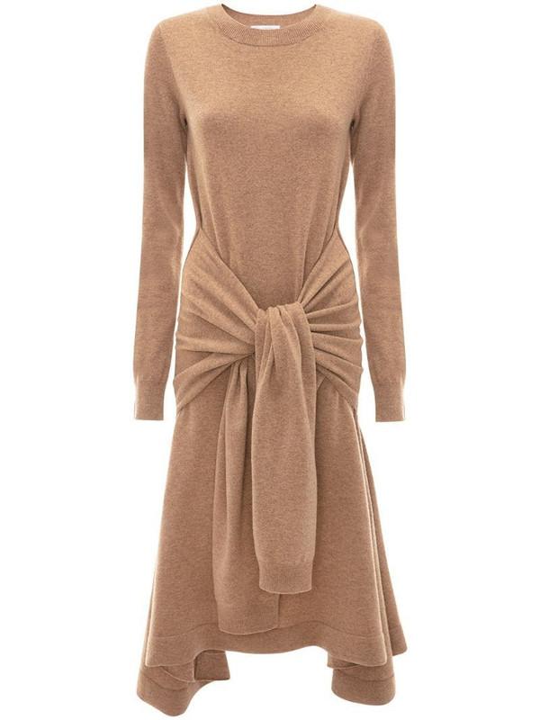 JW Anderson waist tie A-line dress in brown
