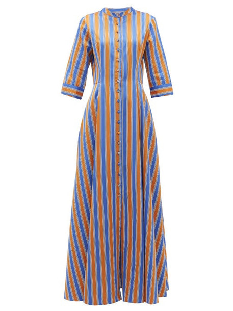 Evi Grintela - El Bahia Striped Cotton-poplin Maxi Shirtdress - Womens - Orange Multi