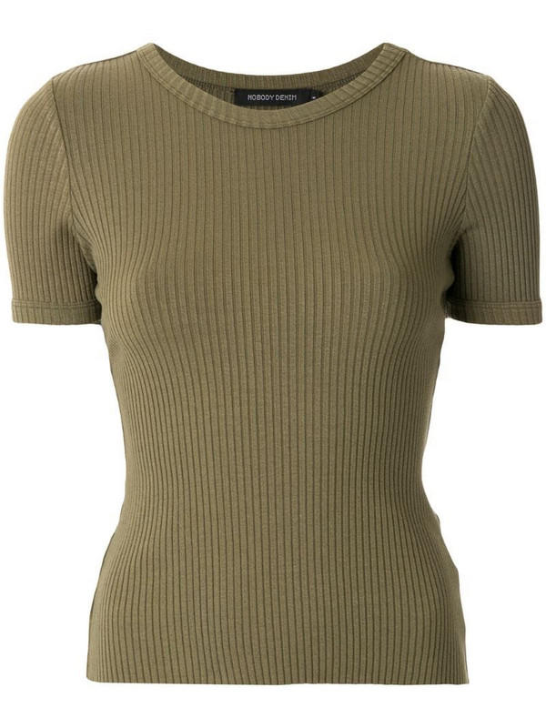 Nobody Denim Luxe Bound ribbed T-shirt in green
