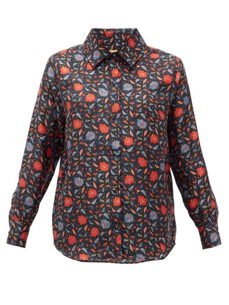 Muzungu Sisters - Fern Floral-print Silk-faille Shirt - Womens - Black Print
