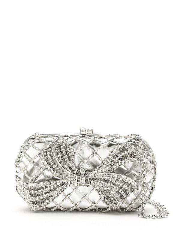 Isla embellished metallic clutch in silver