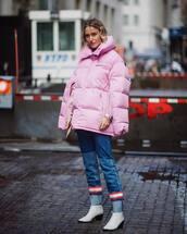 jacket,oversized jacket,pink jacket,puffer jacket,calvin klein,white boots,skinny jeans