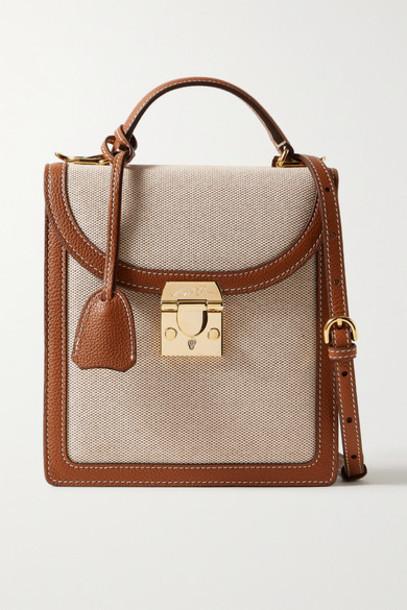 Mark Cross - Uptown Textured Leather-trimmed Canvas Shoulder Bag - Beige