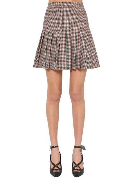 OFF WHITE High Waist Wool Houndstooth Mini Skirt in brown