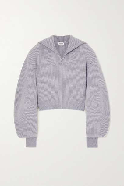 MAGDA BUTRYM - Cropped Ribbed Cashmere Sweater - Gray