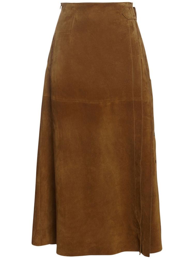 ALBERTA FERRETTI Suede Midi Skirt in camel