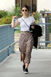 skirt,lucy hale,celebrity,midi skirt,top,animal print,leopard print,streetstyle
