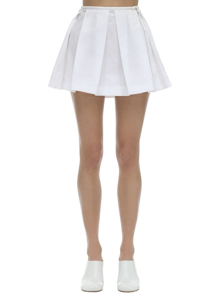 COURREGES Pleated Cotton Poplin Mini Skirt in white