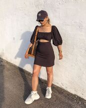 dress,mini dress,black dress,short sleeve dress,white sneakers,louis vuitton bag,cap