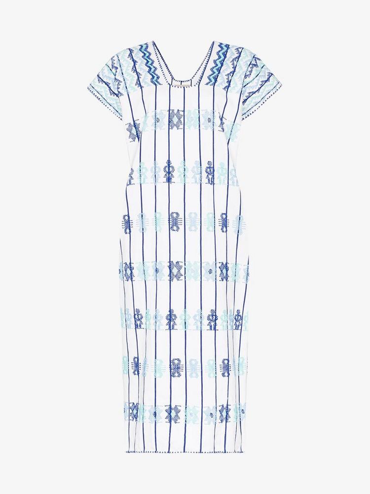 Pippa Holt embroidered kaftan midi-dress in blue