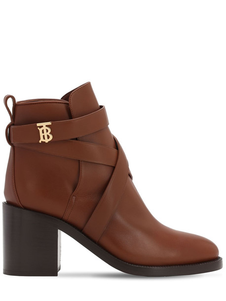 BURBERRY 70mm Pryle Leather Ankle Boots in tan