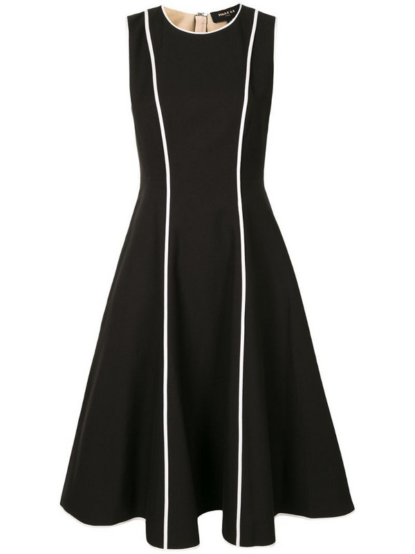 Paule Ka contrast piping midi dress in black