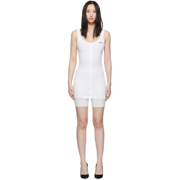Off-White White Buttoned Up Mini Dress
