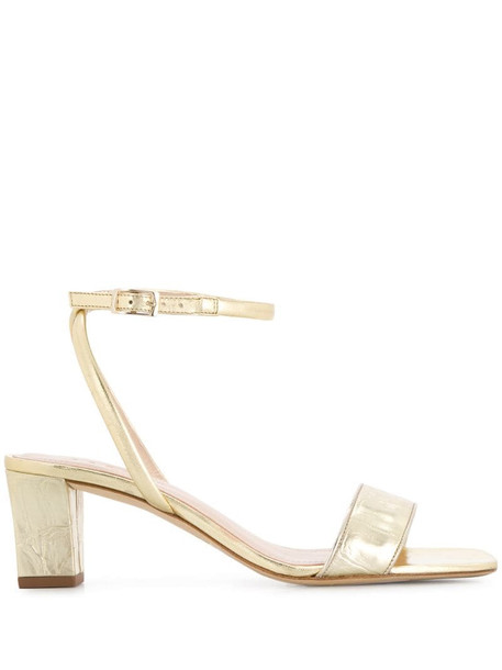 Sandro Paris metallic strappy leather sandals in gold
