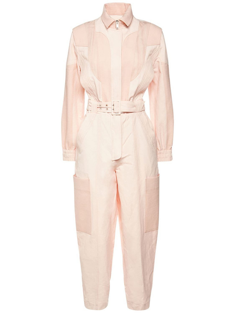 STELLA MCCARTNEY Organic Cotton Blend Belted Jumpsuit in pink