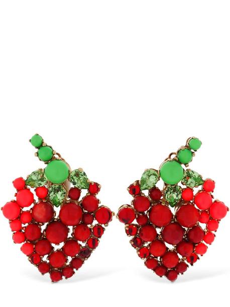 BIJOUX DE FAMILLE Strawberry Clip-on Earrings in green / red