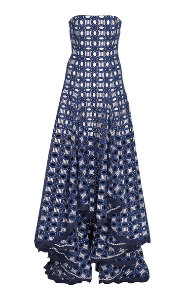 Alexis Antoni Broderie Anglaise Crepe De Chine Maxi Dress in print