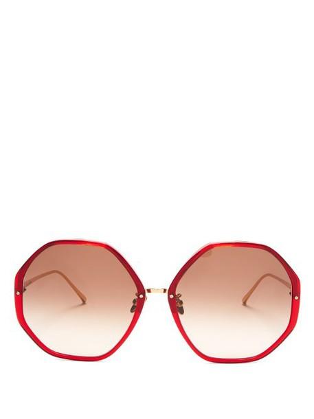 Linda Farrow - Oversized Hexagonal Frame Sunglasses - Womens - Dark Red