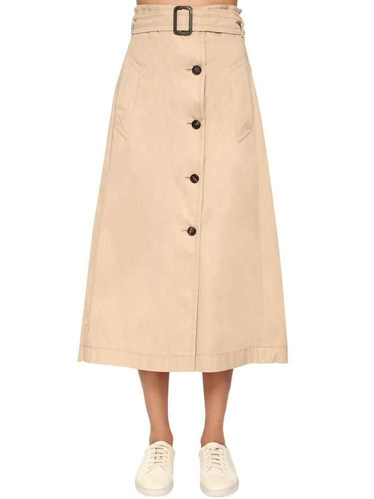 MAX MARA 'S Cotton Gabardine A Line Skirt in beige