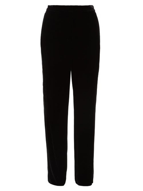 Diane Von Furstenberg - Georgina Satin-stripe Velvet Wide-leg Trousers - Womens - Black