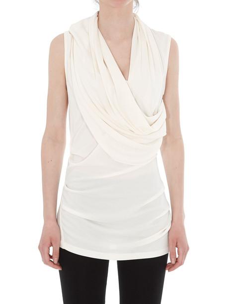 Lanvin Draped Jersey Top in cream