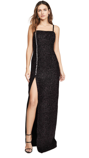 Sandra Mansour Velvet Glitter Buttoned Long Dress in black