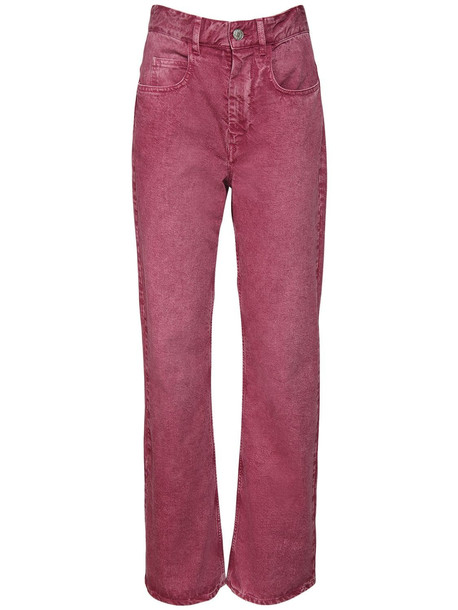 ISABEL MARANT ÉTOILE Belvirac Cotton Denim Flared Jeans in fuchsia