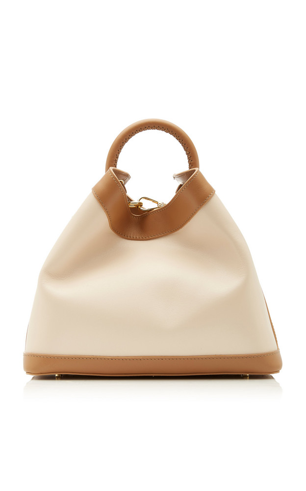 Elleme Raisin Two-Tone Leather Top Handle Bag in ivory