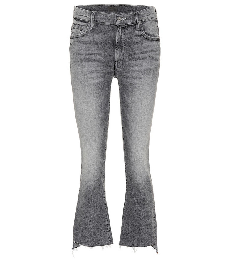 Mother Insider Crop Step Fray flared jeans in grey