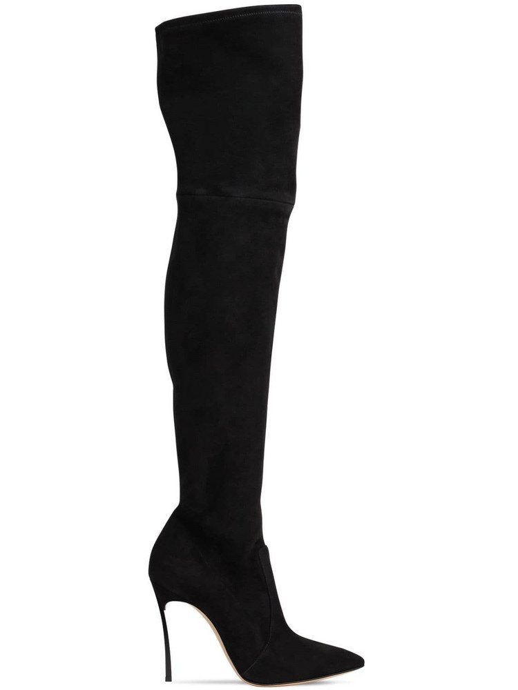 CASADEI 100mm Blade Stretch Suede Boots in black
