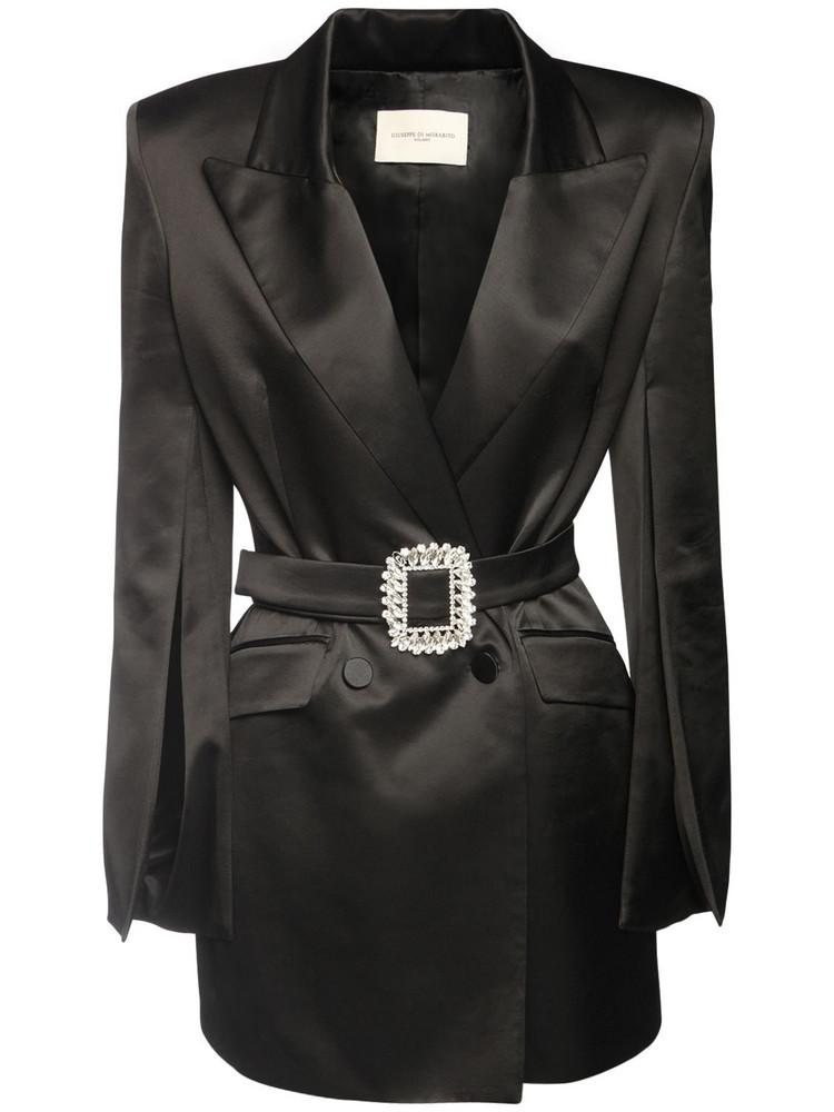 GIUSEPPE DI MORABITO Wool Blend Satin Jacket Dress W/ Belt in black