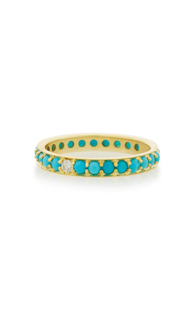 ILA Dunbar 14K Gold Turquoise and Diamond Ring in blue