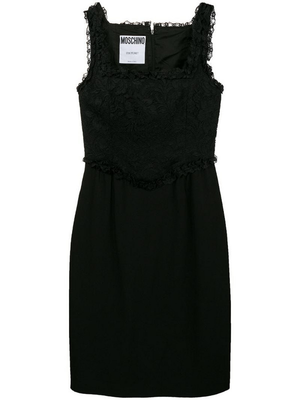 Moschino Pre-Owned lace panel short dress in black