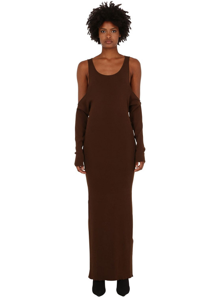 UNRAVEL Long Cotton Blend Dress in brown