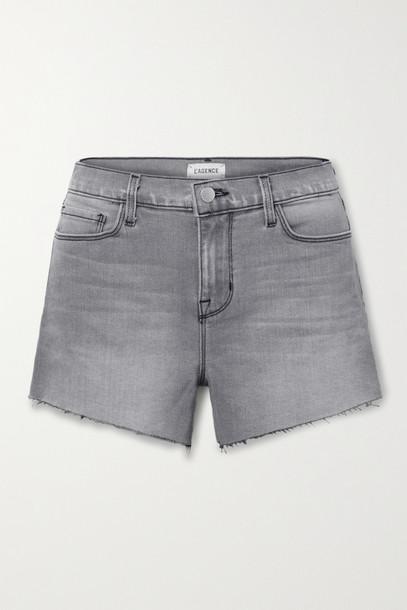L'Agence - Audrey Frayed Denim Shorts - Gray