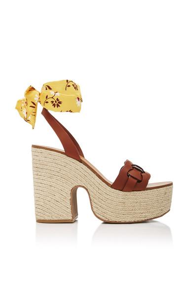 Miu Miu Leather Foulard Platform Sandals in brown
