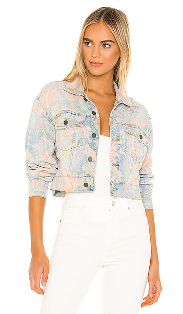 BLANKNYC Floral Printed Cropped Denim Trucker Jacket in Blue