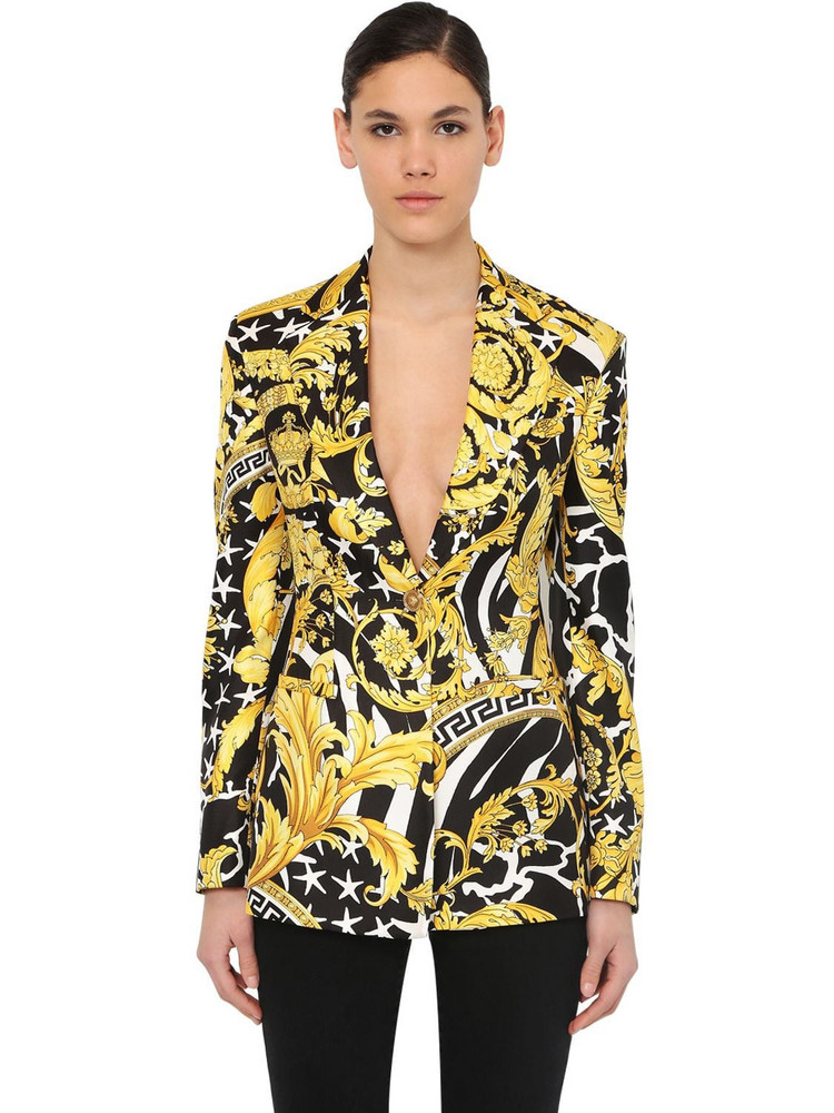 VERSACE Printed Silk Blazer in black / gold