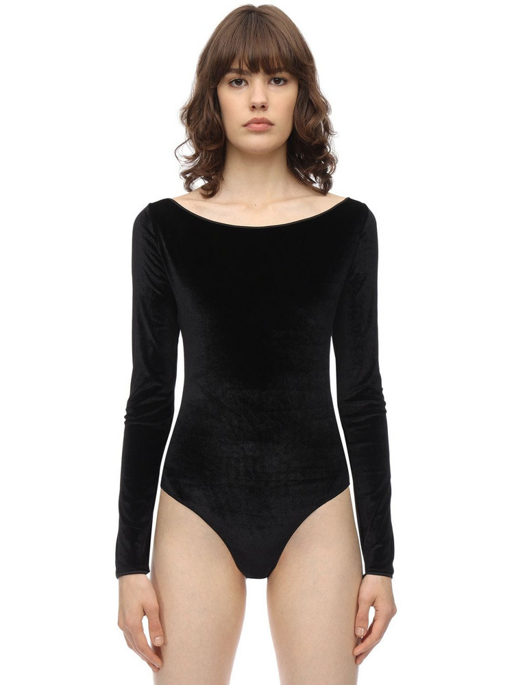 OSÉREE SWIMWEAR Long Sleeve Velvet One Piece Swimsuit in black