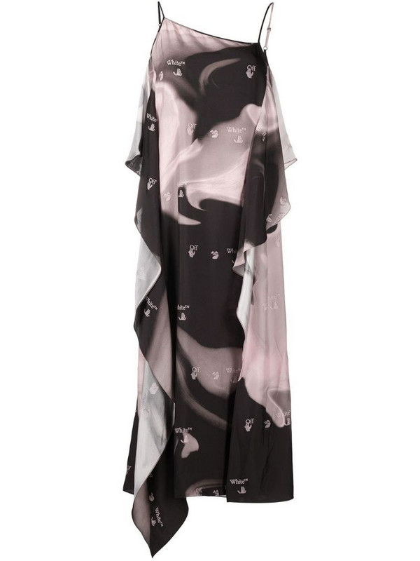 Off-White LIQUID MELT WAVES SLIP DRESS NUDE BLAC in black