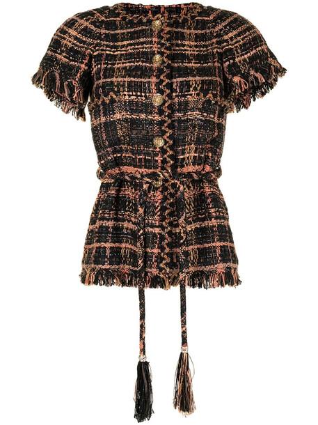 Chanel Pre-Owned tweed short-sleeved tied top - Orange