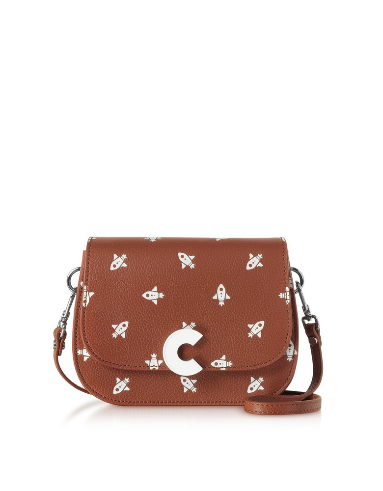 Coccinelle Craquante Razzo Printed Leather Small Shoulder Bag in brown